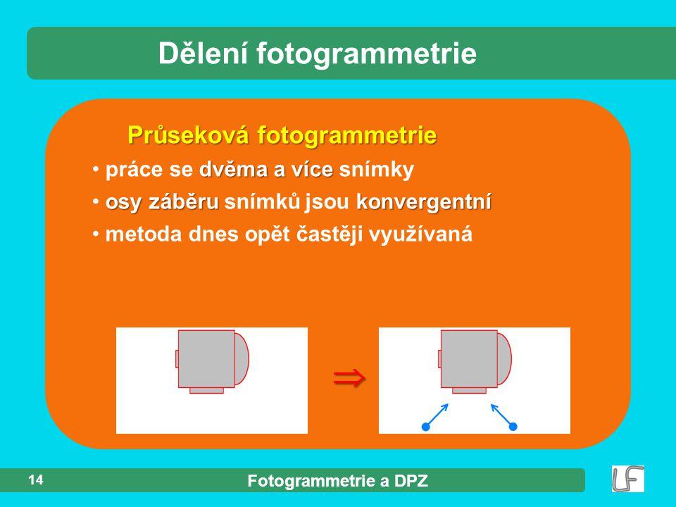 Fotogrammetrie a DPZ 14 Dělení fotogrammetrie Průseková fotogrammetrie dvěma a více práce se dvěma a více snímky osy záběru konvergentní osy záběru snímků jsou konvergentní metoda dnes opět častěji využívaná 
