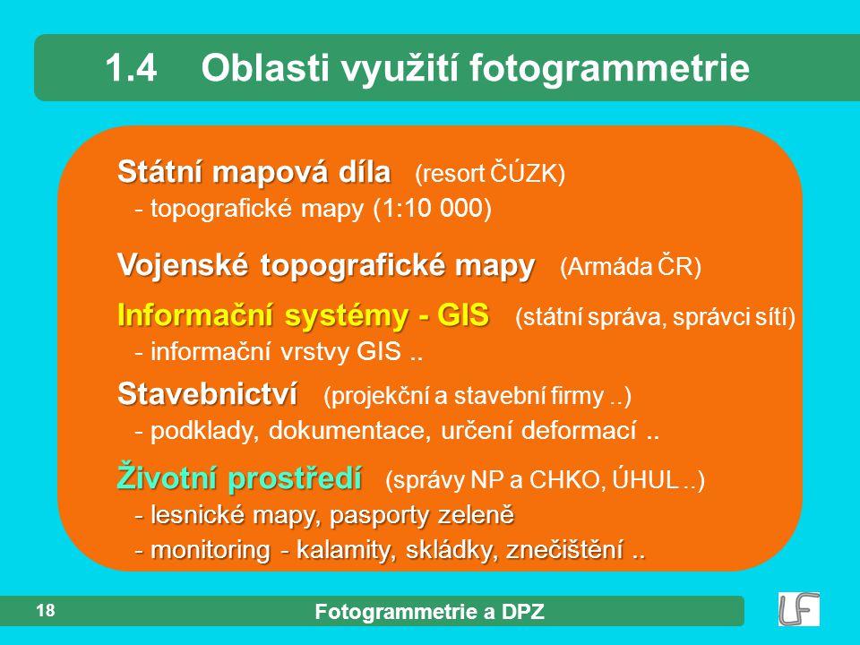 Fotogrammetrie a DPZ 18 Státní mapová díla Státní mapová díla (resort ČÚZK) - topografické mapy (1:10 000) 1.4Oblasti využití fotogrammetrie Vojenské