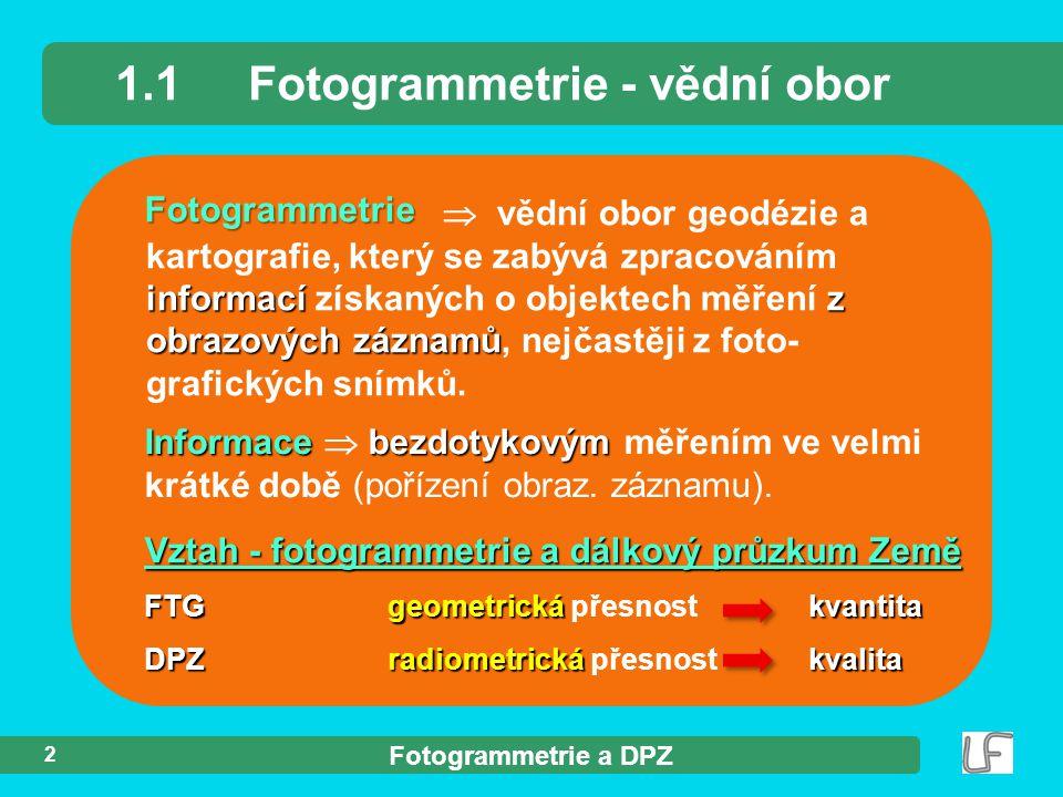 Fotogrammetrie a DPZ 2 Fotogrammetrie 1.1Fotogrammetrie - vědní obor Informacebezdotykovým Informace  bezdotykovým měřením ve velmi krátké době (poří