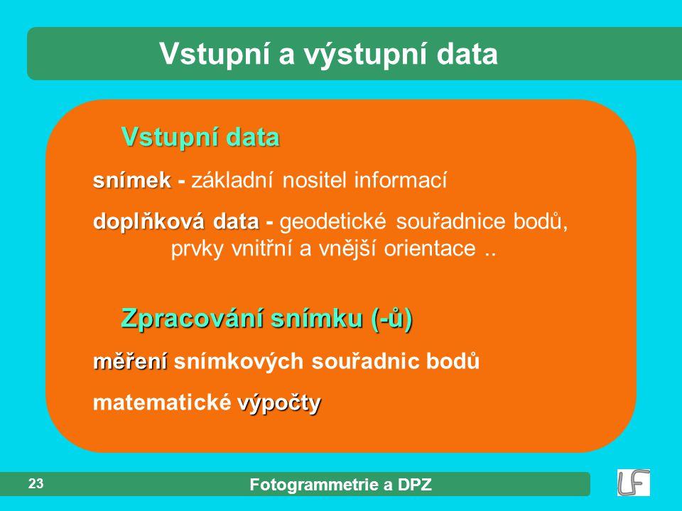 Fotogrammetrie a DPZ 23 Vstupní data snímek snímek - základní nositel informací doplňková data doplňková data - geodetické souřadnice bodů, prvky vnit