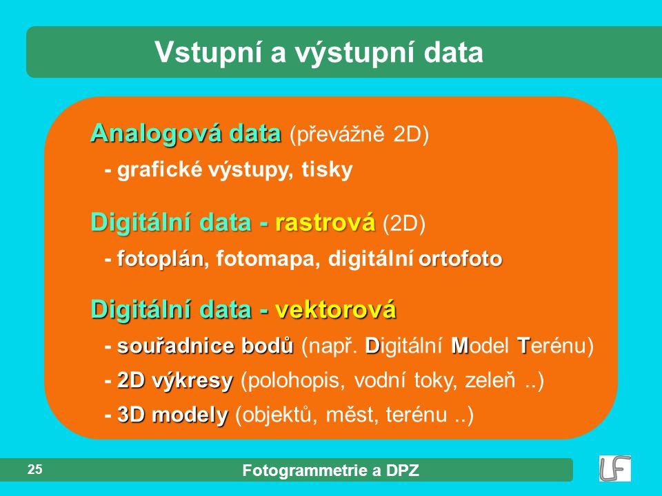 Fotogrammetrie a DPZ 25 Analogová data Analogová data (převážně 2D) - grafické výstupy, tisky Vstupní a výstupní data Digitální data - rastrová Digitální data - rastrová (2D) fotoplánortofoto - fotoplán, fotomapa, digitální ortofoto Digitální data - vektorová souřadnice bodů DMT - souřadnice bodů (např.