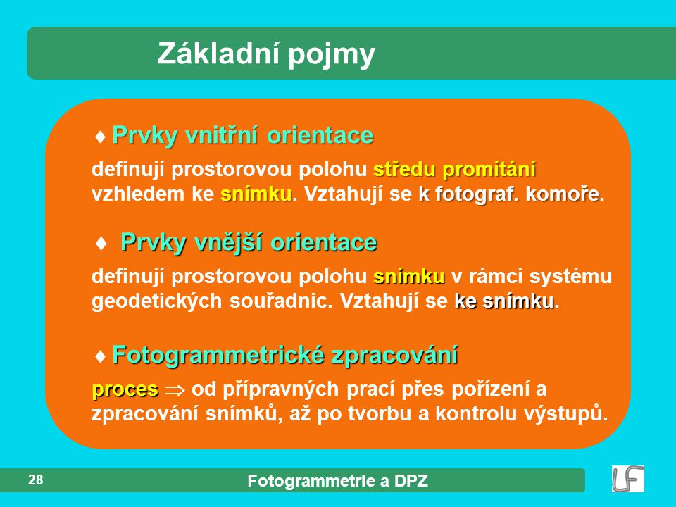 Fotogrammetrie a DPZ 28 Prvky vnitřní orientace  Prvky vnitřní orientace středu promítání snímkuk fotograf. komoře definují prostorovou polohu středu