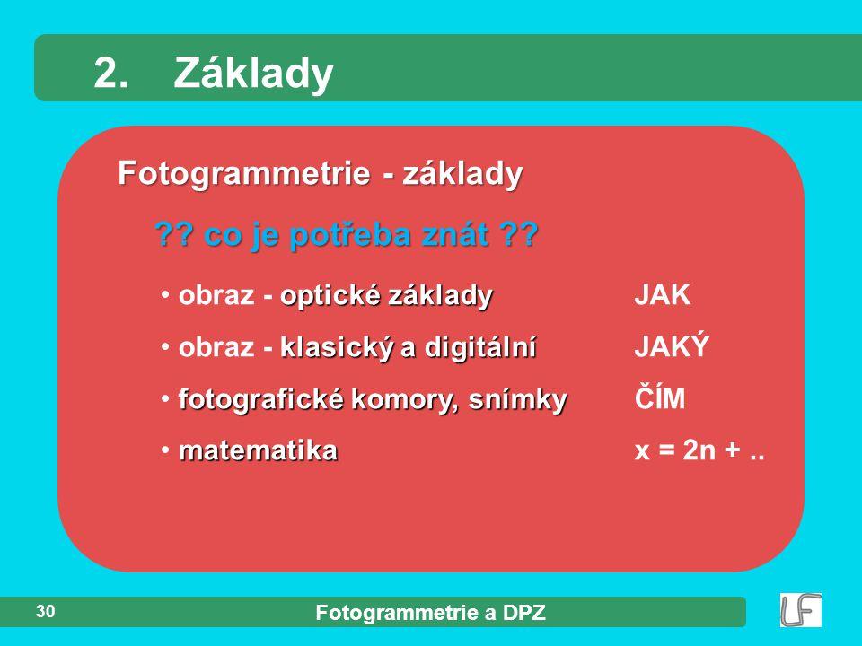 Fotogrammetrie a DPZ 30 Fotogrammetrie - základy ?? co je potřeba znát ?? 2.Základy optické základy obraz - optické základyJAK klasický a digitální ob