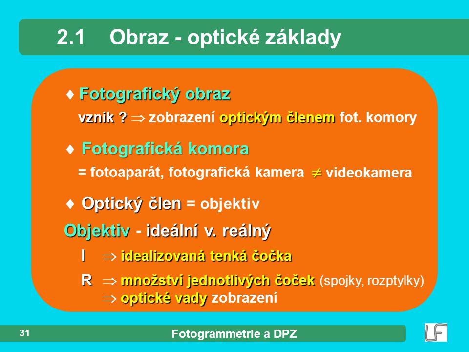 Fotogrammetrie a DPZ 31 Fotografický obraz  Fotografický obraz vznik ? optickým členem vznik ?  zobrazení optickým členem fot. komory 2.1Obraz - opt