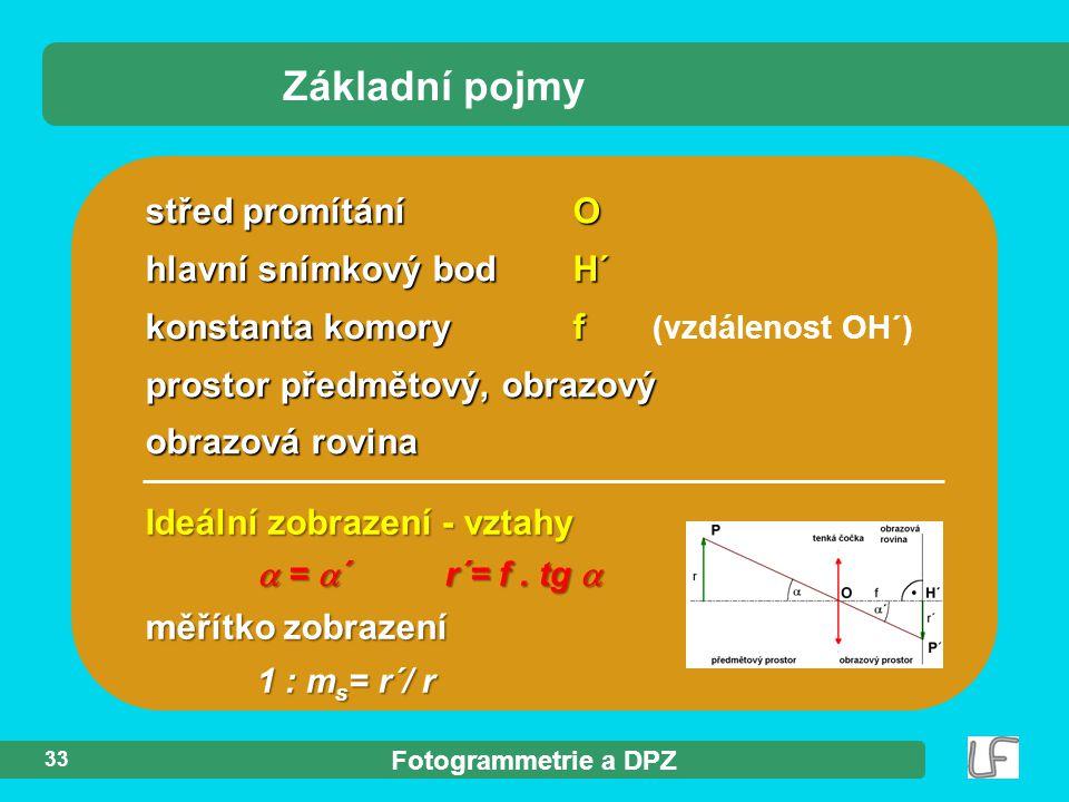 Fotogrammetrie a DPZ 33 Základní pojmy střed promítáníO hlavní snímkový bod H´ konstanta komory f konstanta komory f (vzdálenost OH´) prostor předmětový, obrazový obrazová rovina Ideální zobrazení - vztahy  =  ´ r´= f.