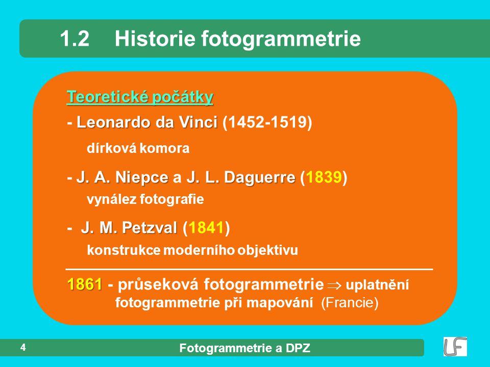 Fotogrammetrie a DPZ 4 Teoretické počátky Leonardo da Vinci - Leonardo da Vinci (1452-1519) dírková komora J. A. Niepce J. L. Daguerre - J. A. Niepce