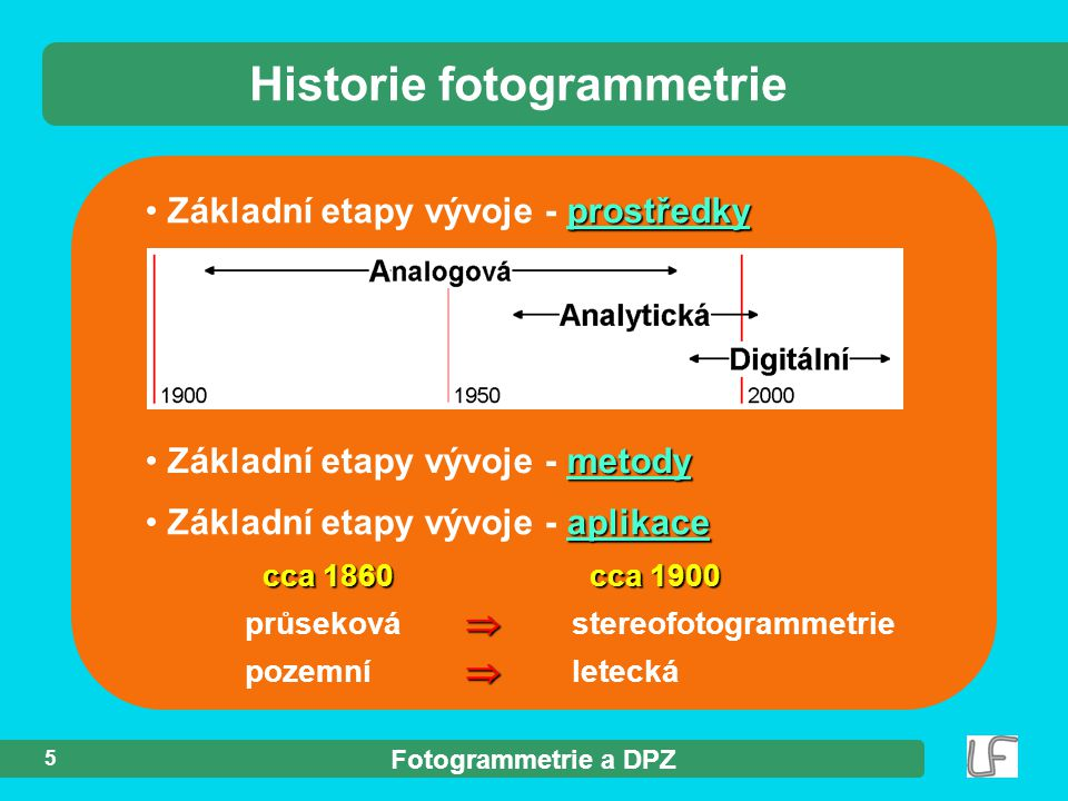 Fotogrammetrie a DPZ 5 Historie fotogrammetrie prostředky Základní etapy vývoje - prostředky metody Základní etapy vývoje - metody cca 1860 cca 1900  průseková  stereofotogrammetrie aplikace Základní etapy vývoje - aplikace  pozemní  letecká