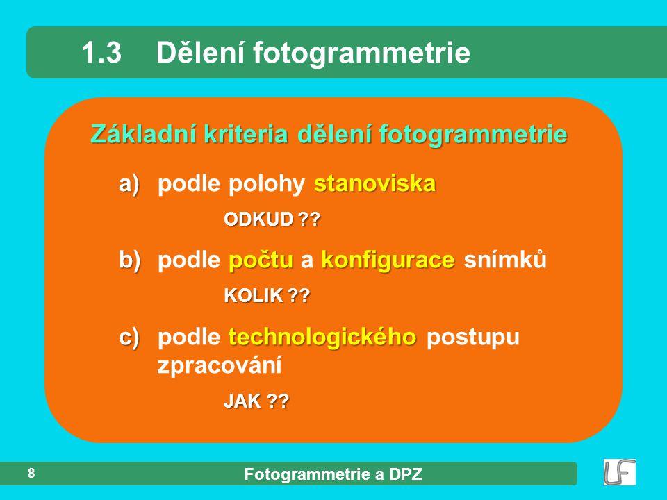 Fotogrammetrie a DPZ 8 Základní kriteria dělení fotogrammetrie 1.3Dělení fotogrammetrie a) stanoviska a) podle polohy stanoviska ODKUD ?? b) počtu kon