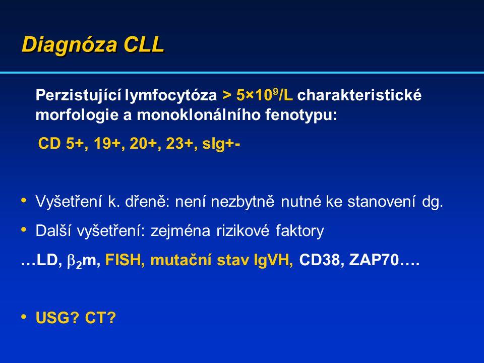 Diagnóza CLL Perzistující lymfocytóza > 5×10 9 /L charakteristické morfologie a monoklonálního fenotypu: CD 5+, 19+, 20+, 23+, sIg+- Vyšetření k. dřen