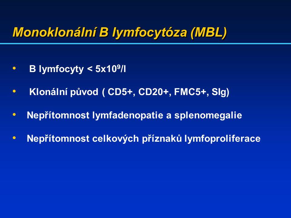 Monoklonální B lymfocytóza (MBL) B lymfocyty < 5x10 9 /l Klonální původ ( CD5+, CD20+, FMC5+, SIg) Nepřítomnost lymfadenopatie a splenomegalie Nepříto