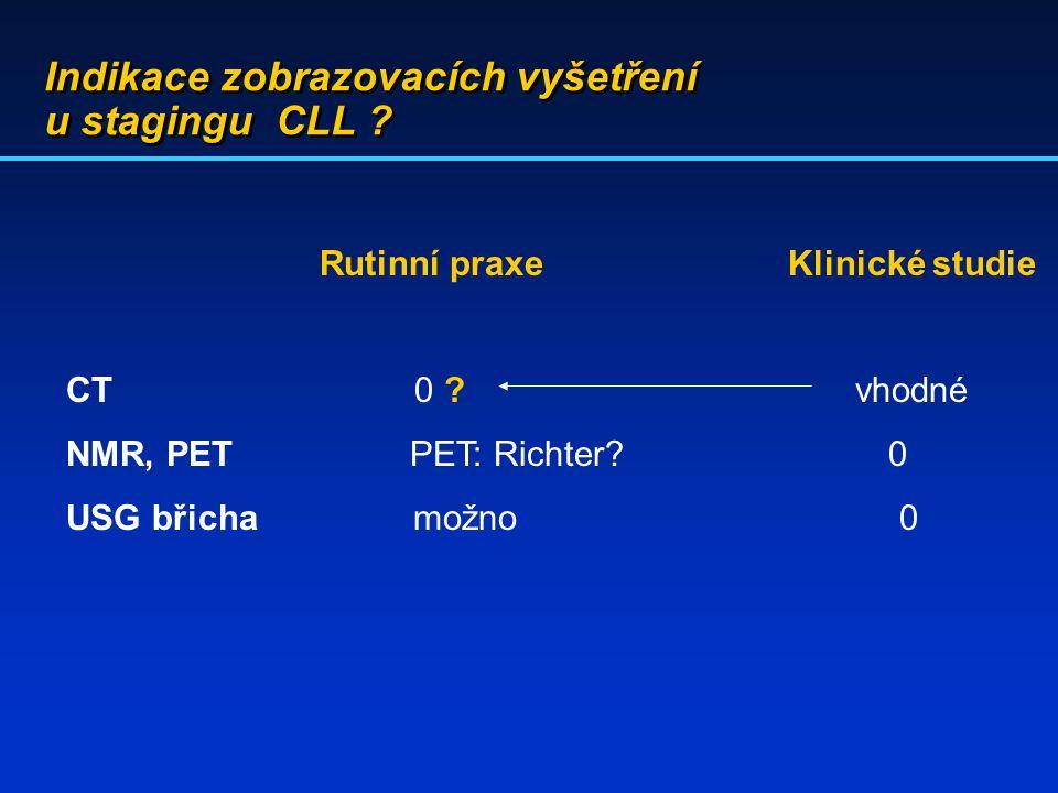 Indikace zobrazovacích vyšetření u stagingu CLL ? Rutinní praxe Klinické studie CT 0 ? vhodné NMR, PET PET: Richter? 0 USG břicha možno 0