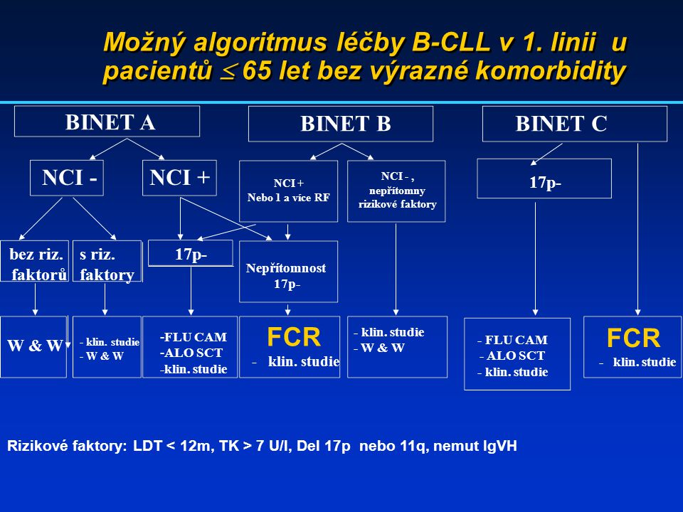 Možný algoritmus léčby B-CLL v 1. linii u pacientů  65 let bez výrazné komorbidity BINET A BINET BBINET C NCI -NCI + 17p- bez riz. faktorů s riz. fak