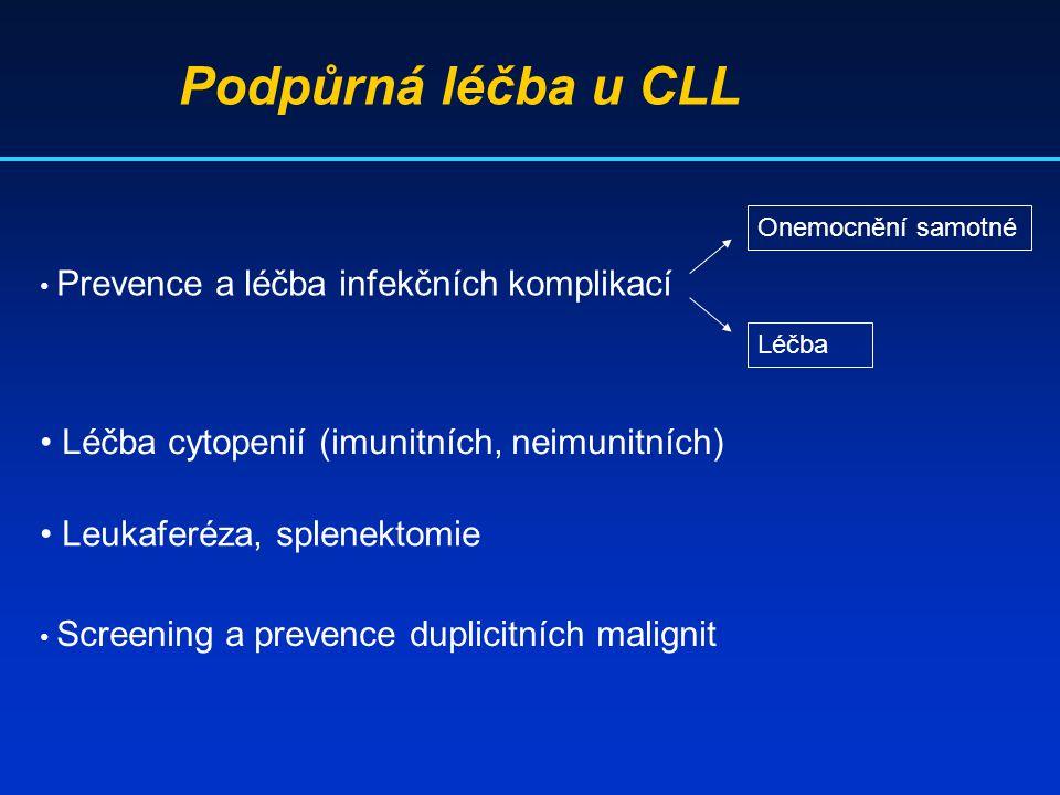 Podpůrná léčba u CLL Prevence a léčba infekčních komplikací Onemocnění samotné Léčba Léčba cytopenií (imunitních, neimunitních) Leukaferéza, splenekto