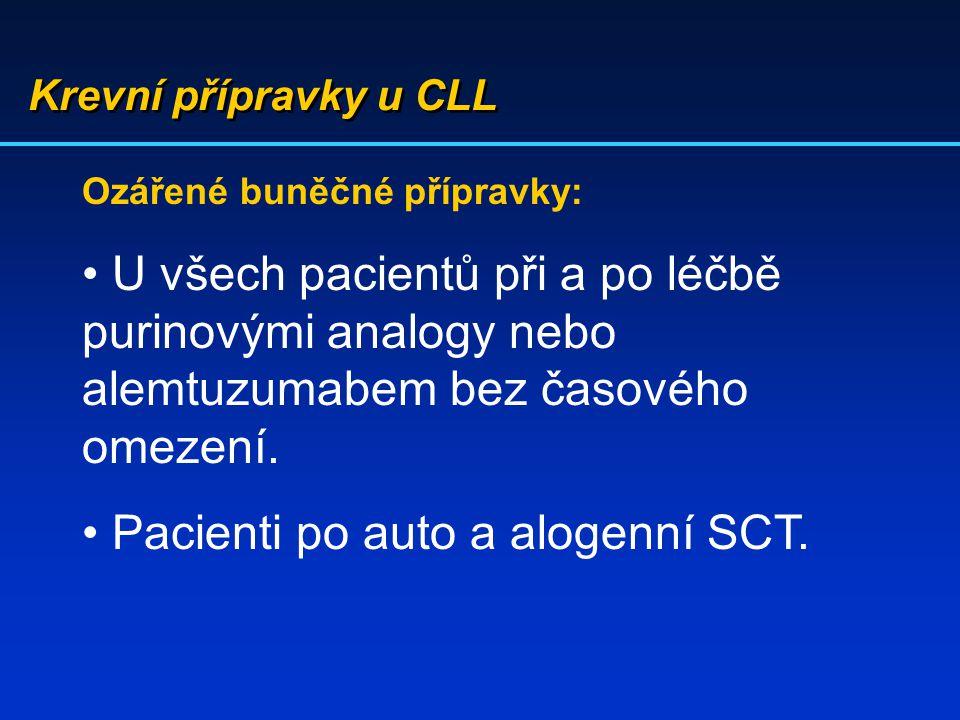 Krevní přípravky u CLL Ozářené buněčné přípravky: U všech pacientů při a po léčbě purinovými analogy nebo alemtuzumabem bez časového omezení. Pacienti