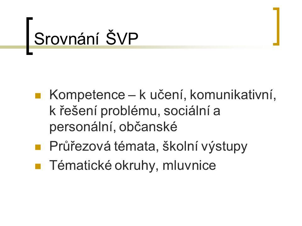 Srovnání ŠVP Kompetence – k učení, komunikativní, k řešení problému, sociální a personální, občanské Průřezová témata, školní výstupy Tématické okruhy, mluvnice