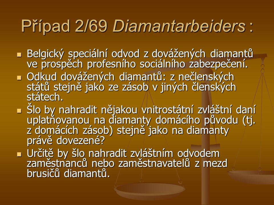 Případ 2/69 Diamantarbeiders : Belgický speciální odvod z dovážených diamantů ve prospěch profesního sociálního zabezpečení. Belgický speciální odvod