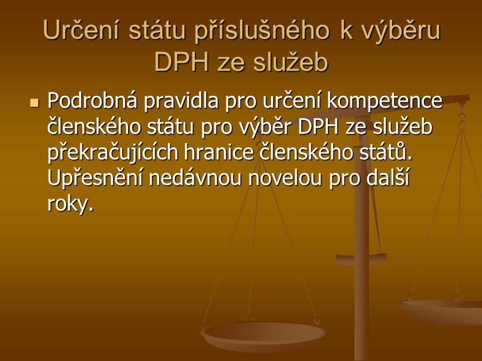 Určení státu příslušného k výběru DPH ze služeb Podrobná pravidla pro určení kompetence členského státu pro výběr DPH ze služeb překračujících hranice
