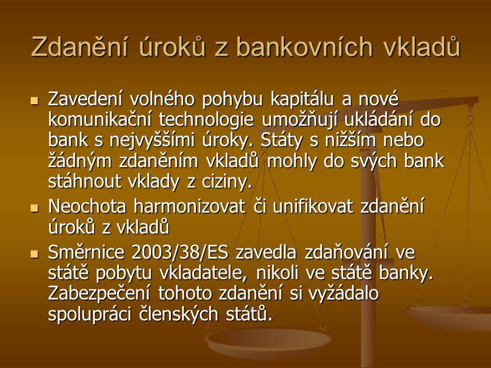 Zdanění úroků z bankovních vkladů Zavedení volného pohybu kapitálu a nové komunikační technologie umožňují ukládání do bank s nejvyššími úroky. Státy