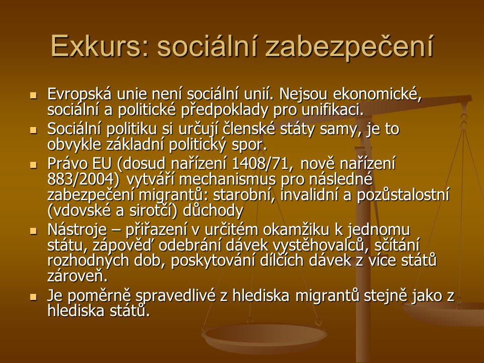 Exkurs: sociální zabezpečení Evropská unie není sociální unií. Nejsou ekonomické, sociální a politické předpoklady pro unifikaci. Evropská unie není s