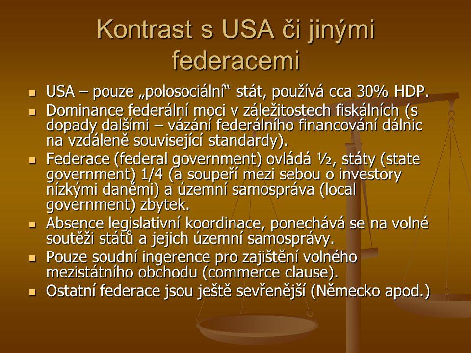 """Kontrast s USA či jinými federacemi USA – pouze """"polosociální"""" stát, používá cca 30% HDP. USA – pouze """"polosociální"""" stát, používá cca 30% HDP. Domina"""