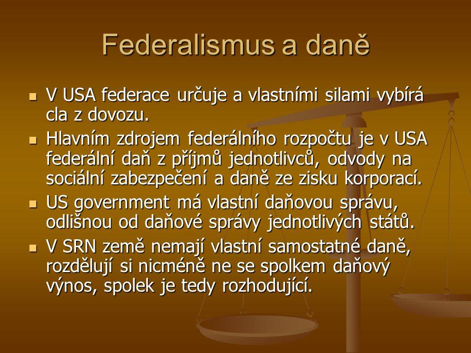 Federalismus a daně V USA federace určuje a vlastními silami vybírá cla z dovozu. V USA federace určuje a vlastními silami vybírá cla z dovozu. Hlavní