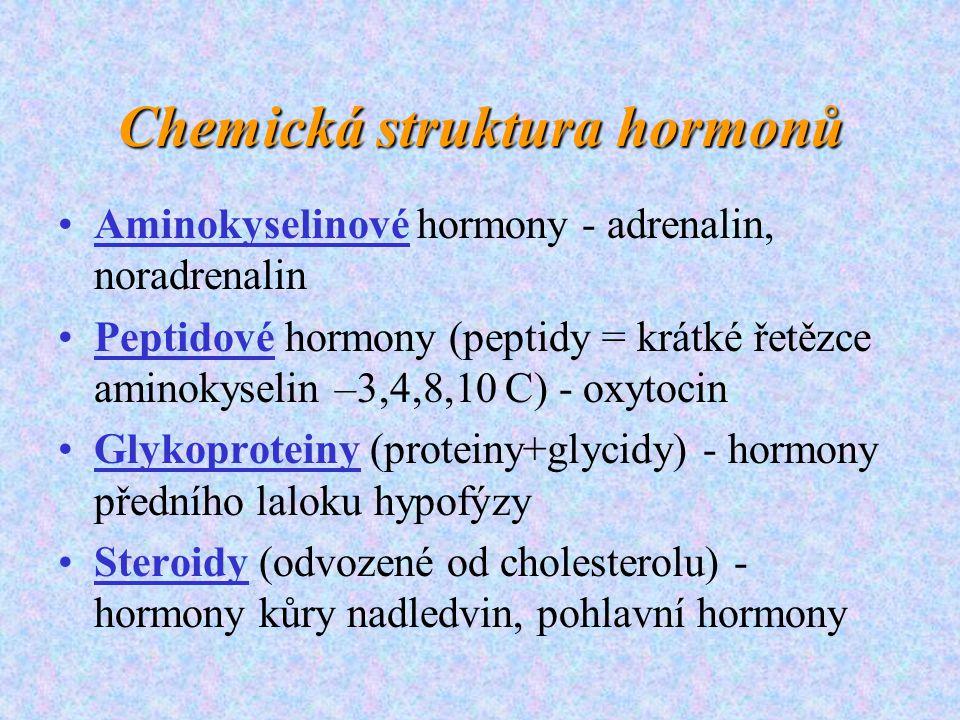 Chemická struktura hormonů Aminokyselinové hormony - adrenalin, noradrenalin Peptidové hormony (peptidy = krátké řetězce aminokyselin –3,4,8,10 C) - o