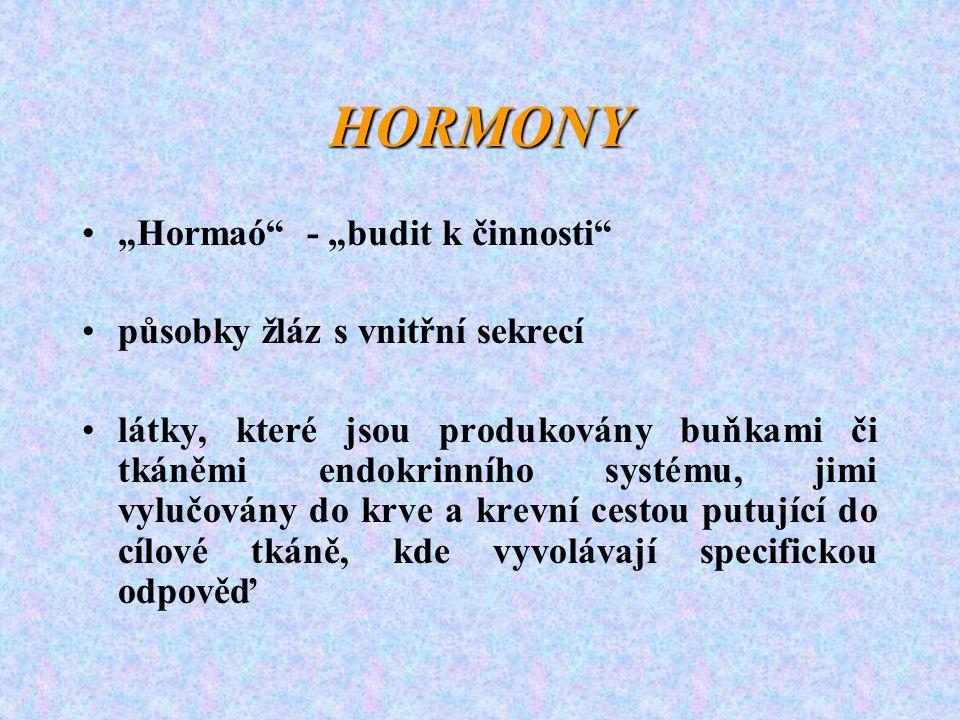 """HORMONY """"Hormaó"""" - """"budit k činnosti"""" působky žláz s vnitřní sekrecí látky, které jsou produkovány buňkami či tkáněmi endokrinního systému, jimi vyluč"""
