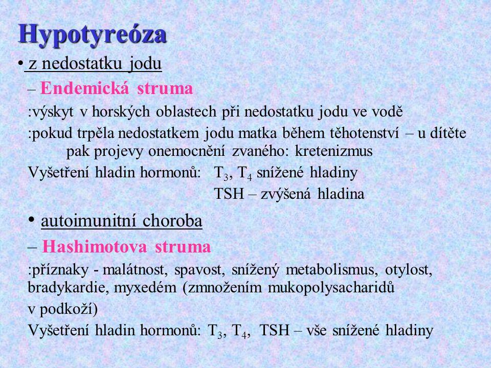 Hypotyreóza z nedostatku jodu – Endemická struma :výskyt v horských oblastech při nedostatku jodu ve vodě :pokud trpěla nedostatkem jodu matka během t
