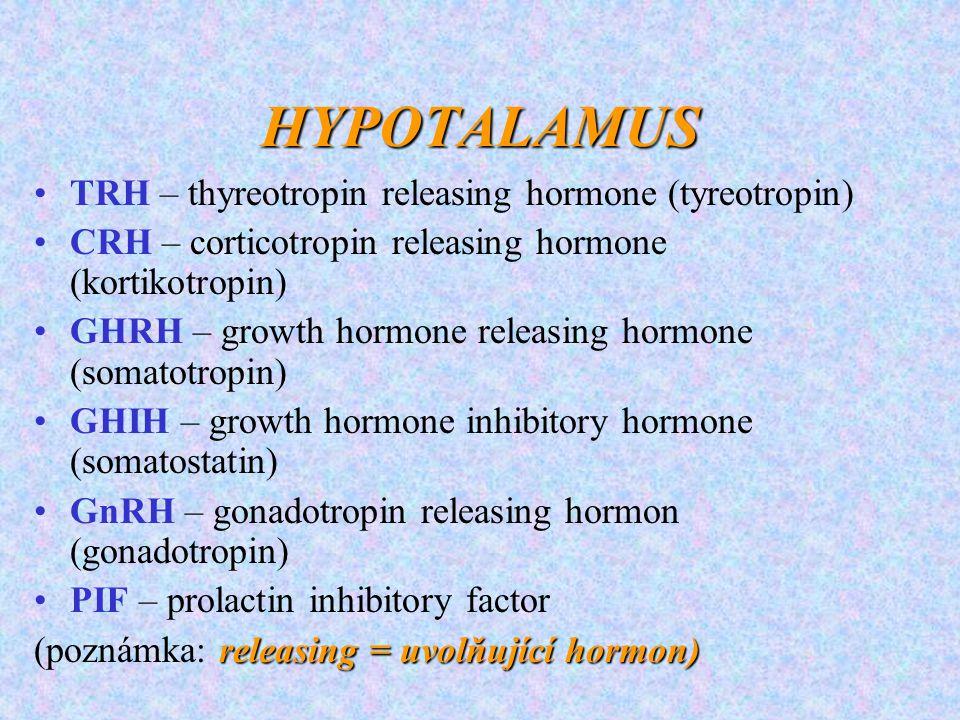 HYPOTALAMUS TRH – thyreotropin releasing hormone (tyreotropin) CRH – corticotropin releasing hormone (kortikotropin) GHRH – growth hormone releasing h