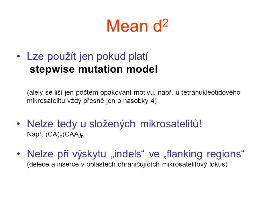 Mean d 2 Lze použít jen pokud platí stepwise mutation model (alely se liší jen počtem opakování motivu, např. u tetranukleotidového mikrosatelitu vždy