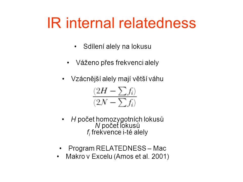 IR internal relatedness Sdílení alely na lokusu Váženo přes frekvenci alely Vzácnější alely mají větší váhu H počet homozygotních lokusů N počet lokus