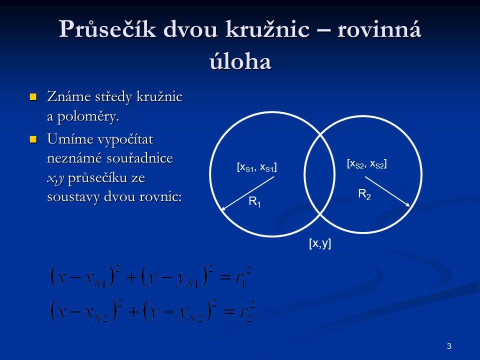 3 Průsečík dvou kružnic – rovinná úloha Známe středy kružnic a poloměry. Známe středy kružnic a poloměry. Umíme vypočítat neznámé souřadnice x,y průse