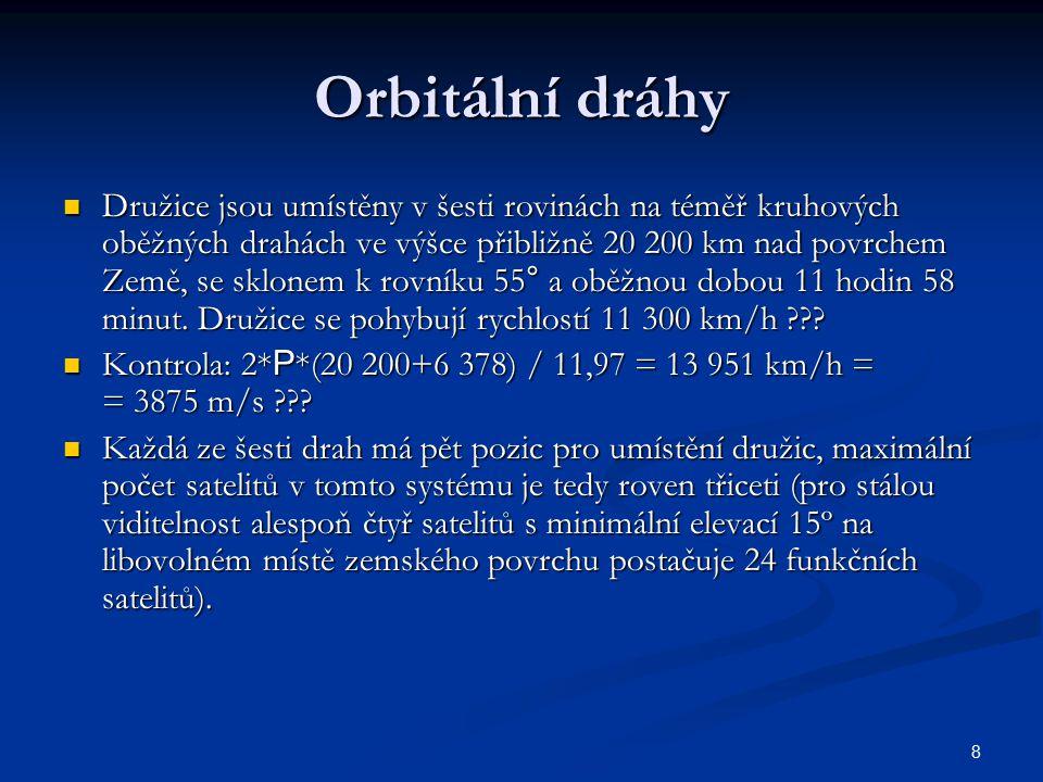 8 Orbitální dráhy Družice jsou umístěny v šesti rovinách na téměř kruhových oběžných drahách ve výšce přibližně 20 200 km nad povrchem Země, se sklone