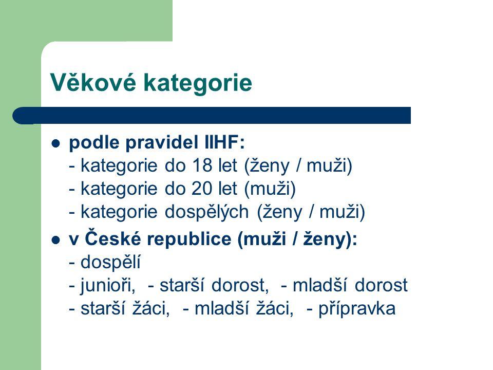 Věkové kategorie podle pravidel IIHF: - kategorie do 18 let (ženy / muži) - kategorie do 20 let (muži) - kategorie dospělých (ženy / muži) v České republice (muži / ženy): - dospělí - junioři, - starší dorost, - mladší dorost - starší žáci, - mladší žáci, - přípravka