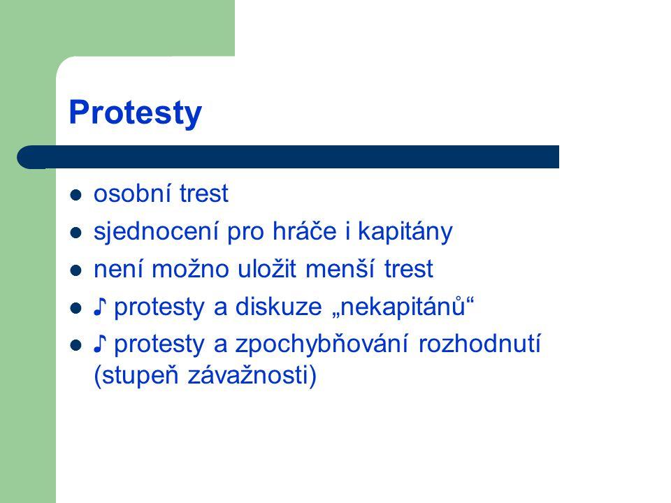 """Protesty osobní trest sjednocení pro hráče i kapitány není možno uložit menší trest ♪ protesty a diskuze """"nekapitánů ♪ protesty a zpochybňování rozhodnutí (stupeň závažnosti)"""