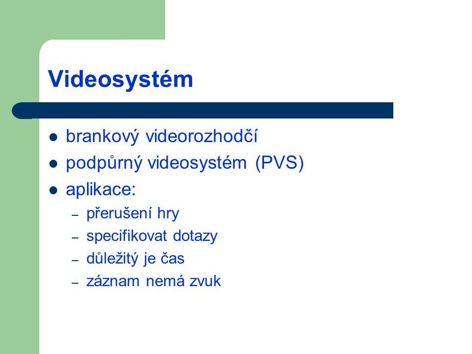 Videosystém brankový videorozhodčí podpůrný videosystém (PVS) aplikace: – přerušení hry – specifikovat dotazy – důležitý je čas – záznam nemá zvuk