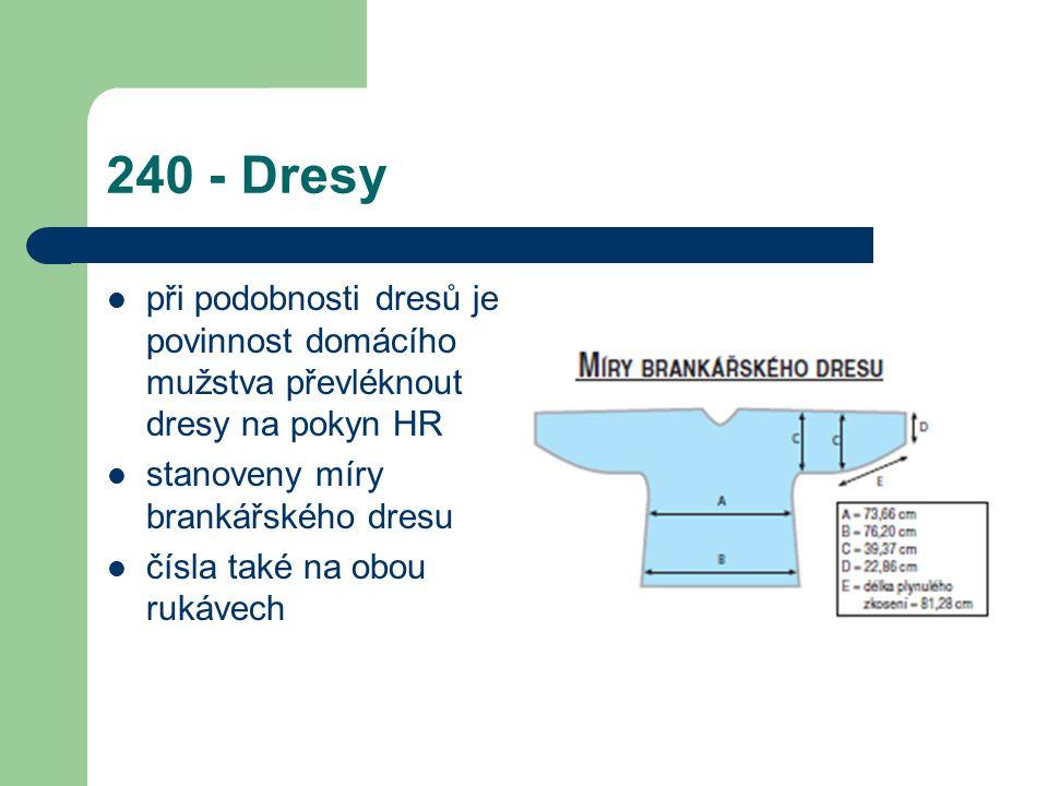 240 - Dresy při podobnosti dresů je povinnost domácího mužstva převléknout dresy na pokyn HR stanoveny míry brankářského dresu čísla také na obou rukávech