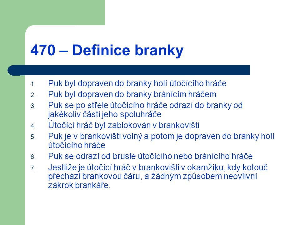 470 – Definice branky 1. Puk byl dopraven do branky holí útočícího hráče 2. Puk byl dopraven do branky bránícím hráčem 3. Puk se po střele útočícího h