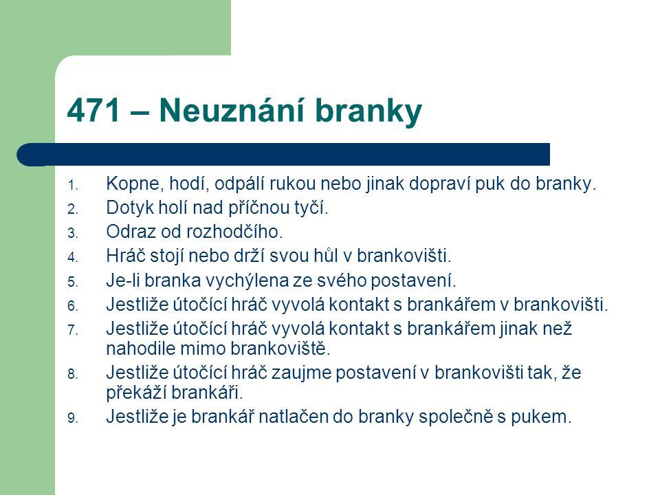 471 – Neuznání branky 1.Kopne, hodí, odpálí rukou nebo jinak dopraví puk do branky.