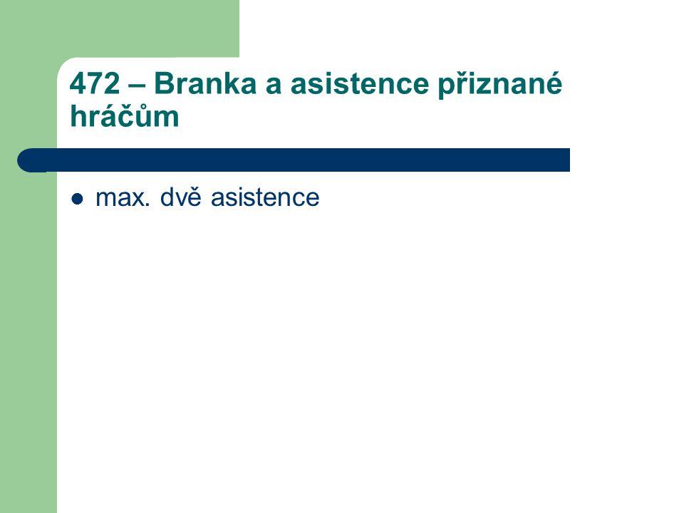 472 – Branka a asistence přiznané hráčům max. dvě asistence