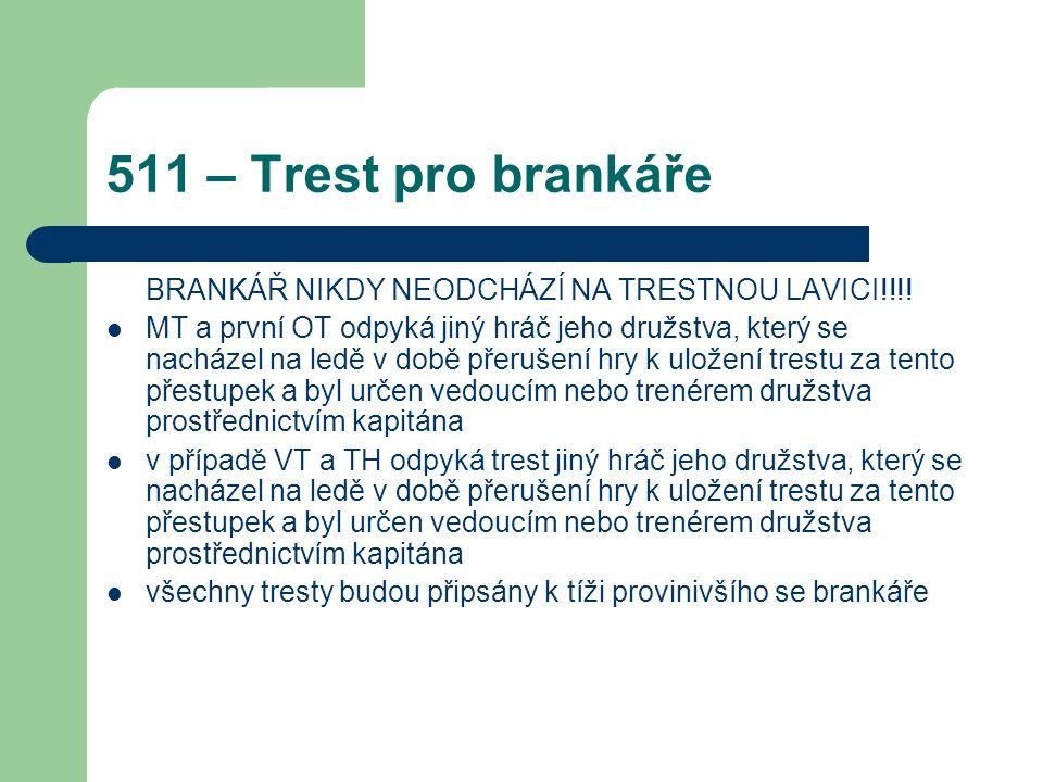 511 – Trest pro brankáře BRANKÁŘ NIKDY NEODCHÁZÍ NA TRESTNOU LAVICI!!!! MT a první OT odpyká jiný hráč jeho družstva, který se nacházel na ledě v době