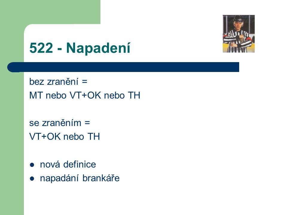 522 - Napadení bez zranění = MT nebo VT+OK nebo TH se zraněním = VT+OK nebo TH nová definice napadání brankáře