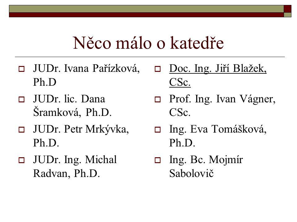 Něco málo o katedře  JUDr.Ivana Pařízková, Ph.D  JUDr.