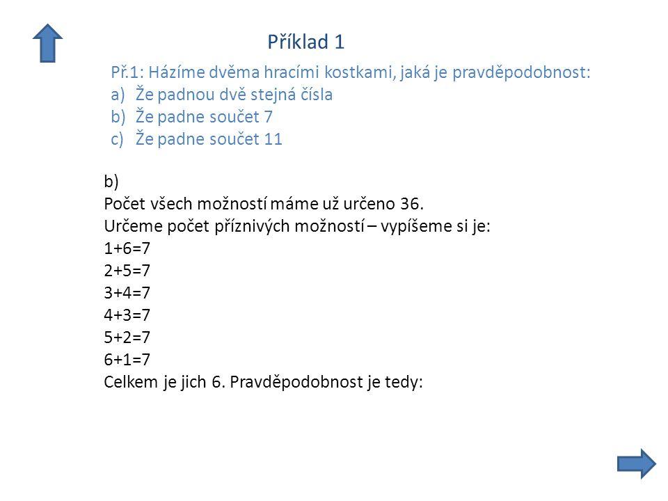 Příklad 1 Př.1: Házíme dvěma hracími kostkami, jaká je pravděpodobnost: a)Že padnou dvě stejná čísla b)Že padne součet 7 c)Že padne součet 11 b) Počet všech možností máme už určeno 36.