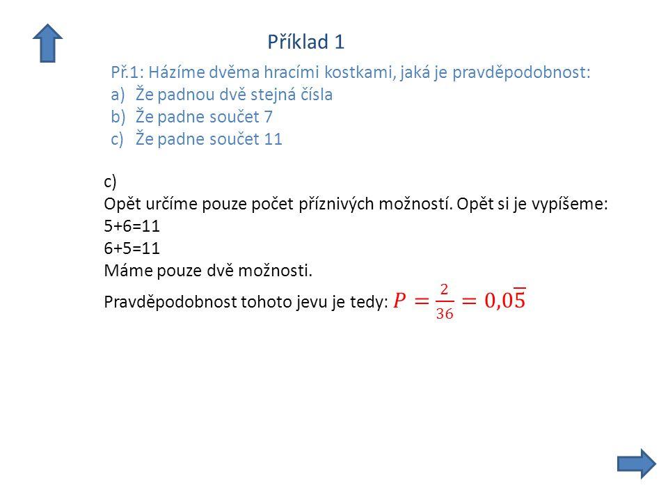 Příklad 1 Př.1: Házíme dvěma hracími kostkami, jaká je pravděpodobnost: a)Že padnou dvě stejná čísla b)Že padne součet 7 c)Že padne součet 11