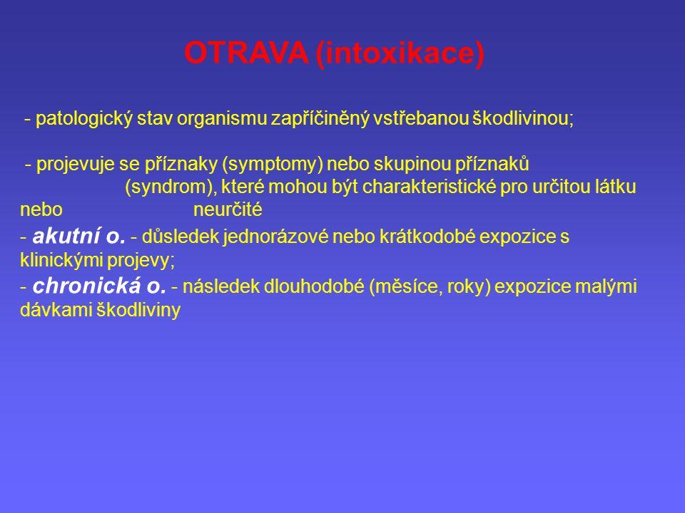 OTRAVA (intoxikace) - patologický stav organismu zapříčiněný vstřebanou škodlivinou; - projevuje se příznaky (symptomy) nebo skupinou příznaků (syndro
