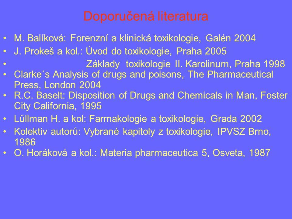 Doporučená literatura M. Balíková: Forenzní a klinická toxikologie, Galén 2004 J. Prokeš a kol.: Úvod do toxikologie, Praha 2005 Základy toxikologie I