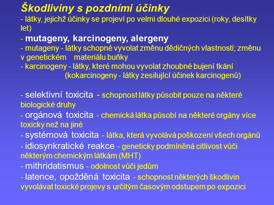 Škodliviny s pozdními účinky - látky, jejichž účinky se projeví po velmi dlouhé expozici (roky, desítky let) - mutageny, karcinogeny, alergeny - mutag