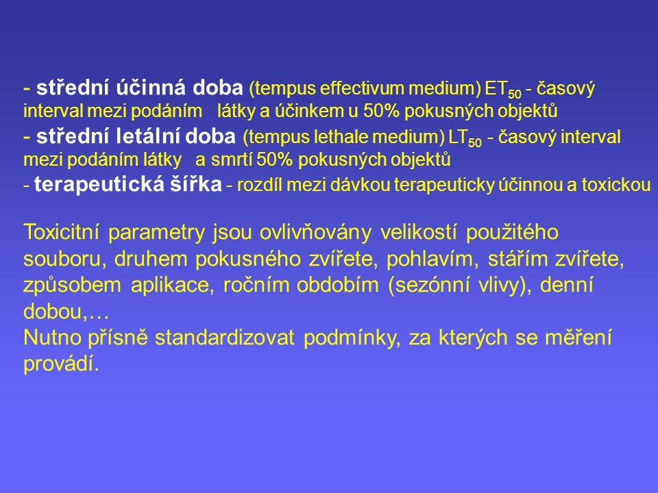 - střední účinná doba (tempus effectivum medium) ET 50 - časový interval mezi podáním látky a účinkem u 50% pokusných objektů - střední letální doba (