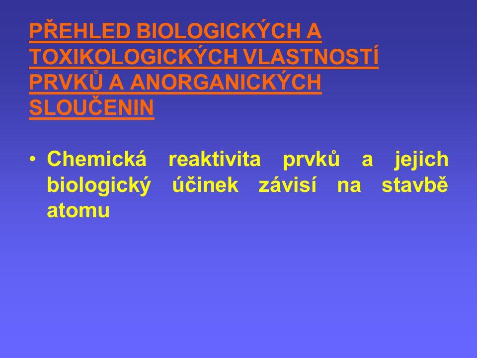 PŘEHLED BIOLOGICKÝCH A TOXIKOLOGICKÝCH VLASTNOSTÍ PRVKŮ A ANORGANICKÝCH SLOUČENIN Chemická reaktivita prvků a jejich biologický účinek závisí na stavb